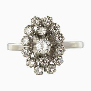 French Diamond 18 Karat White Gold Marquise Ring, 1970s