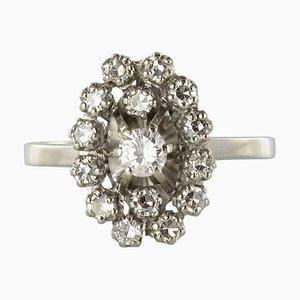 Sortija francesa en oro marquesa diamante blanco de 18 quilates, años 70