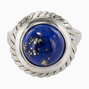Vintage 4,76 Karat Lapis Lazuli Ring in Weißgold, 1960er