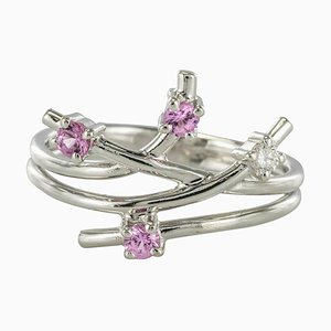 Anillo Diamond rosado de zafiro moderno de Front