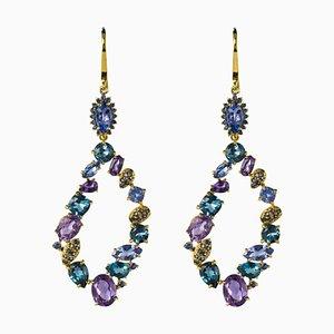 Modern Tanzanite Amethyst Sapphire Topaz Silver Dangle Earrings