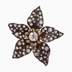 Antike französische silberne florale Diamant Hängelampe in Diamanten-Optik, 19. Jh