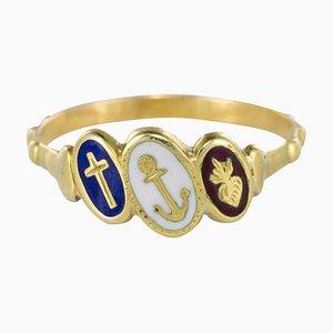 Antiker blauweißer emaillierter Dizain Faith Ring aus 19. Jhdt