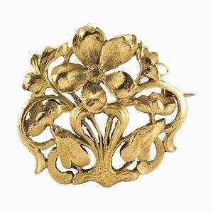 Antique Art Nouveau Meadow Spirit 18 Karat Yellow Gold Brooch