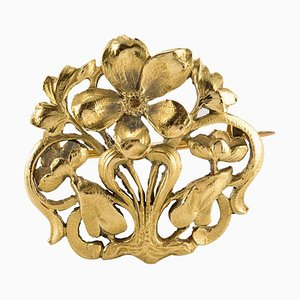 Spilla Art Nouveau Spirit 18kat antica in oro giallo