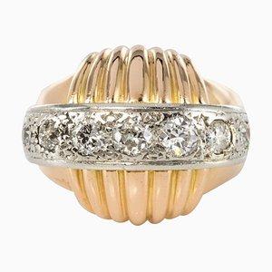 Vintage Gadroons Diamond 18 Karat Yellow Gold Ring, 1950s