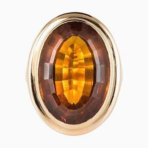 Anillo vintage de cuarzo y oro amarillo de 18 quilates de 11 quilates, años 60
