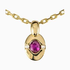 Modern Ruby Diamond 18 Karat Yellow Gold Pendant and Chain