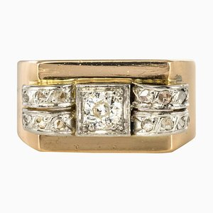 Diamond 18 Karat Yellow Gold Tank Ring, 1950s