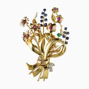 18 Karat Gold Bouquet Precious Stones Brooch by Arp, 1950s