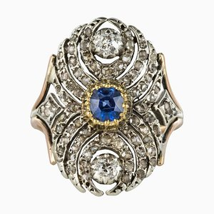 19th Century French 18 Karat Yellow Gold Silver Sapphire Diamond Ring