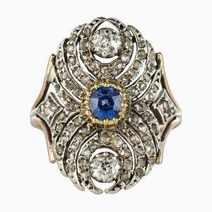 Französischer 18 Karat Gelbgold Silber Saphir Diamantring, 19. Jh