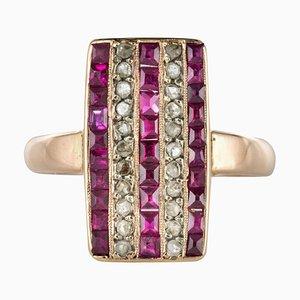 Calibrated Ruby Diamond 18 Karat Rose Gold Rectangular Ring, 1900s