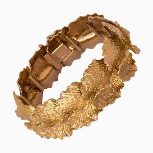 Französisches Goldblatt Design Armband, 1960er