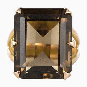 Vintage Smoky Quartz 18 Karat Yellow Gold Ring, 1960s