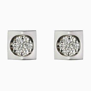 18 Karat White Gold Diamond Geometric Stud Earrings