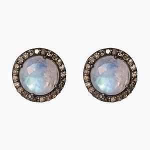 Moonstones Diamond Silver Round Shape Stud Earrings