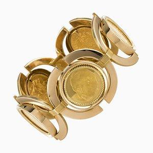 18 Karat Gelbgold Münzen Armband von Linke, 1960er