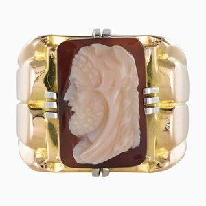 19th Century Napoleon 3 Agate Cameo 18 Karat Yellow Gold Men's Signet Ring