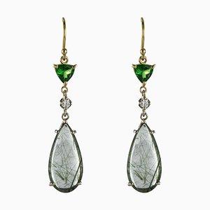 Aretes Baume Creation de cuarzo y diamantes talla arenisca granate Tsavorite