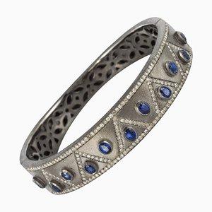 Silver Diamond Kyanites Bangle Bracelet by Gray