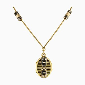 19th Century French Napoleon 3 Diamond Enamelled Locket Pendant Necklace