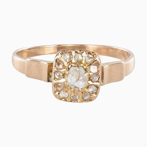 French 19th Century Square Diamonds 18 Karat Rose Gold Ring