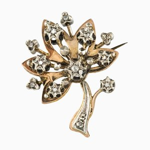 19th Century French Diamond Rose Gold Tree Brooch by Silver