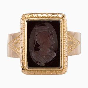 19th Century French Napoleon Third Carnelian Intaglio Gold Signet Ring