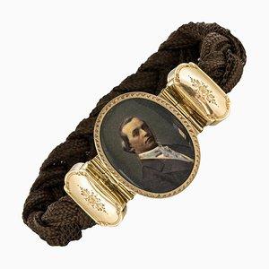 19th Century Elegant Photography 18 Karat Yellow Gold Hair Bracelet by Brown