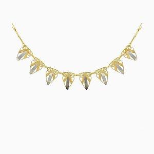 Französische Art Deco Halskette in Gelbgold und Weißgold