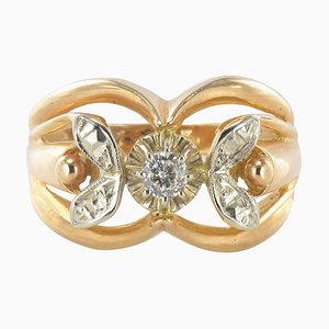 French Rose Gold and White Gold Diamond Ring, 1960s