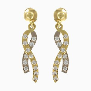 Gold Ribbon and Diamond Earrings, Set of 2