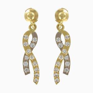 Gold Ribbon and Diamond Earrings, Set of 2