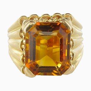 Französischer Zitrin Gelbgold Ring, 1960er
