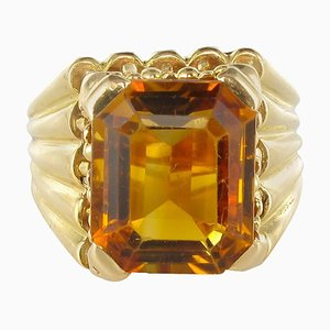 French Citrine Yellow Gold Ring, 1960s