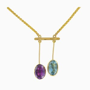 French Topaz and Amethyst Gold Lariat Necklace, 1950s