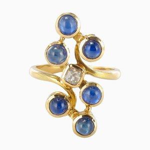 Anillo de zafiros y diamantes, años 70