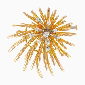 French Retro Diamond Gold Floral Brooch