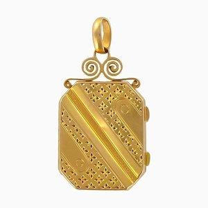 Rechteckige Goldene Napoleon III Gold Medaillon Fassung