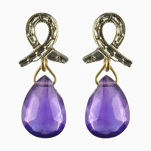 Baume Ohrringe in Gold Amethyst Briolette, 2er Set