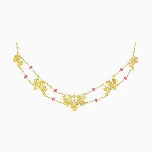 Französische 18-Karat Gelbgold & Rosa Spinell Perlen Halskette, 1950er