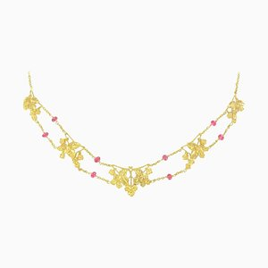 French 18 Carat Yellow Gold and Pink Spinel Beads Drapery Necklace,1950s