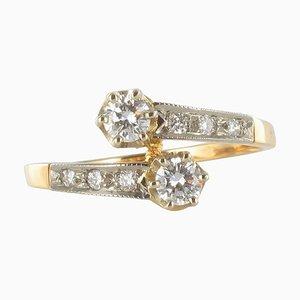 Französischer 18 Karat Gelbgold und Platin Verlobungsring mit Diamanten