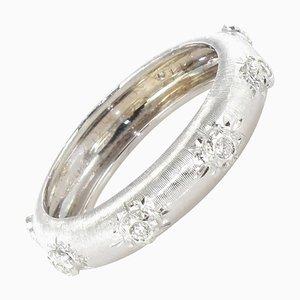 Brushed 18 Carat White Gold and Diamond Band Ring
