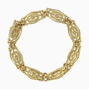 French 18 Karat Yellow Gold Bracelet with Floral Motifs, 1900s