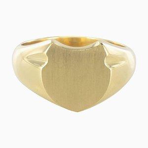 Anello con sigillo in oro giallo, 18 carati, Francia