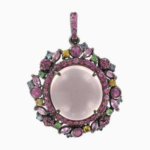 Hängelampe aus pinker und rosafarbener Saphiremelde in Rosa und Gelb