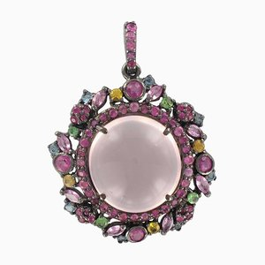 Pink Quartz and Pink Yellow Sapphires Silver Pendant Necklace