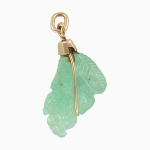 Engraved Emerald and 18 Karat Gold Pendant Charm, 1960s